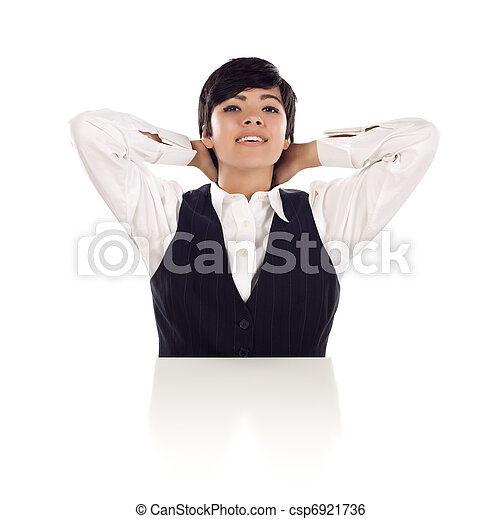 Smiling Mixed Race Young Adult Female Hands Behind Her Head - csp6921736