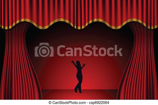 Red Theatre Curtains. Vector - csp6922064