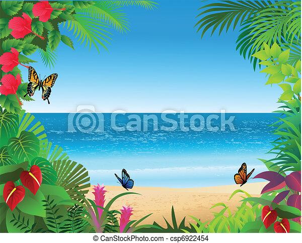 Vettore eps di tropicale spiaggia fondocsp6922454 for Disegni di casa sulla spiaggia tropicale