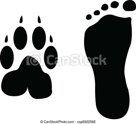 Dog and man footprints - csp6922568