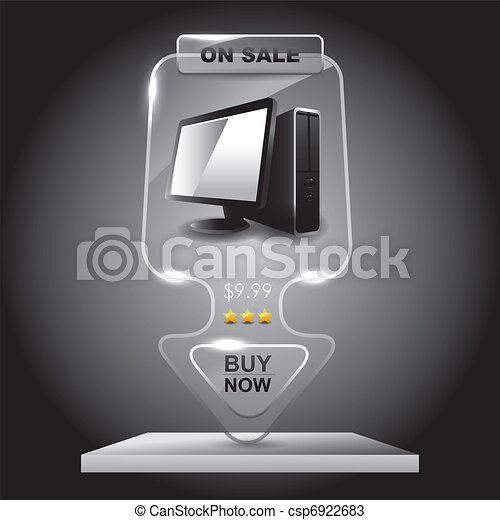 Transparent glass computer sale banner,Marketing illustration. - csp6922683