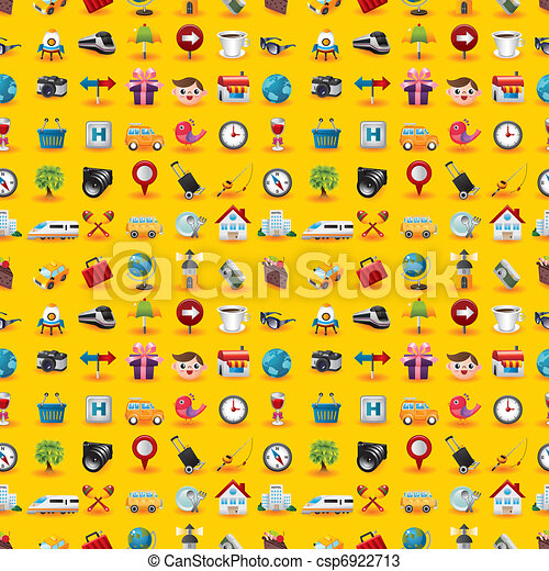 Yellow  Travel Icons Seamless Pattern - csp6922713