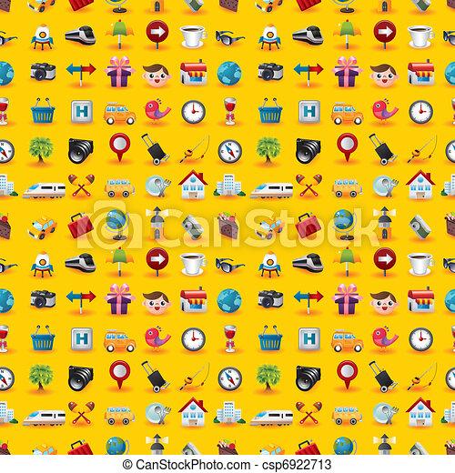 Yellow  Travel Icons Seamless Pattern - csp6922713