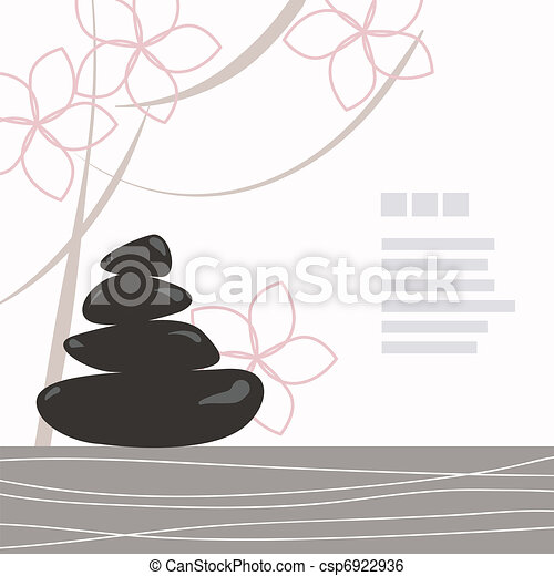 Spa background of black pebble decorated with flowers - csp6922936