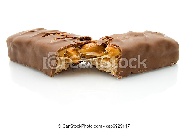 Chocolate bar isolated on white with caramel - csp6923117