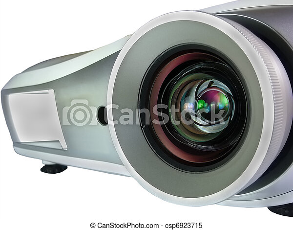 projector isolated on white background closeup - csp6923715