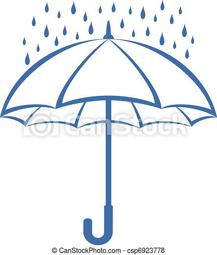 Umbrella and rain, pictogram - csp6923778