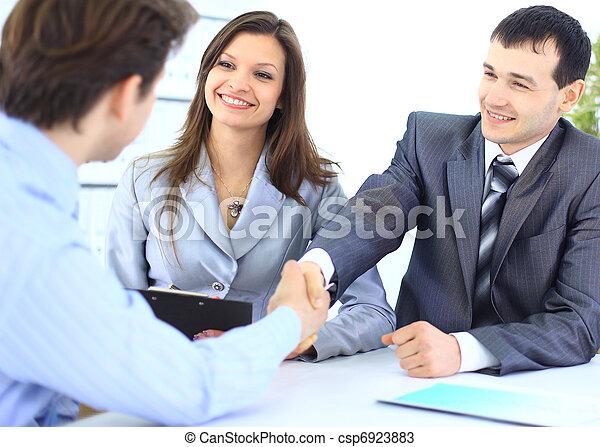 gens, secousse,  Business, mains - csp6923883