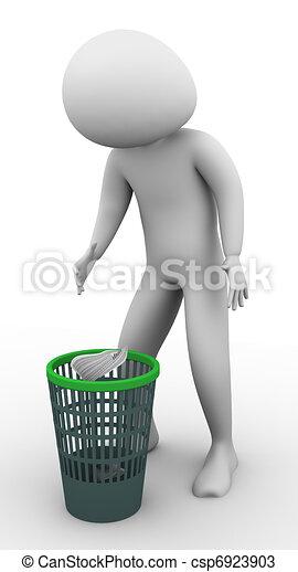3d man using waste basket - csp6923903