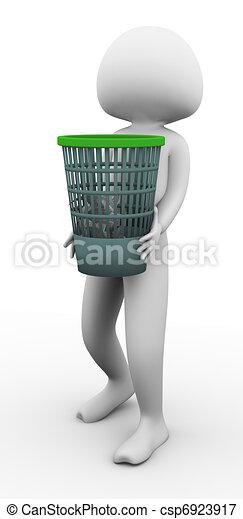 3d man carrying waste basket - csp6923917