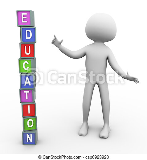 3d man and colorful text 'education' - csp6923920