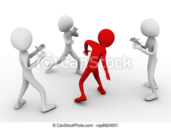 3d men fighting - csp6924001