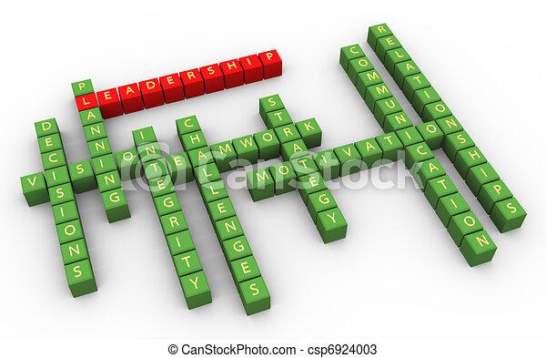 3D, crucigrama, liderazgo, habilidades - csp6924003