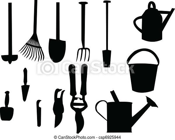 Eps vector of garden tools silhouette vector csp6925944 for Gardening tools drawing