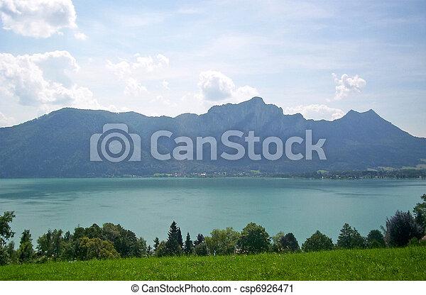 mountain lake landscape, nature, sunny daylight - csp6926471
