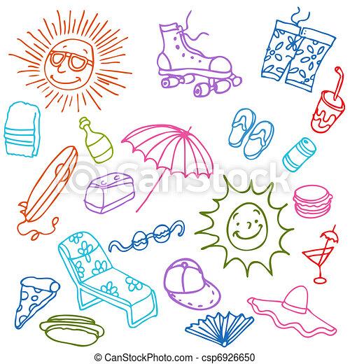 Vector Clipart Of Summer Beach Items An Image Of A