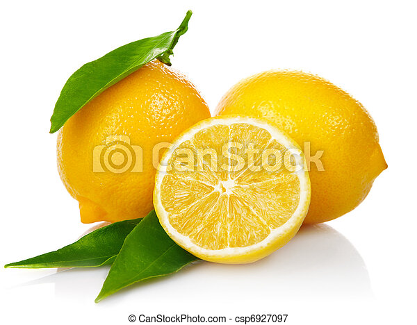 fresh lemons with cut and green leaves - csp6927097