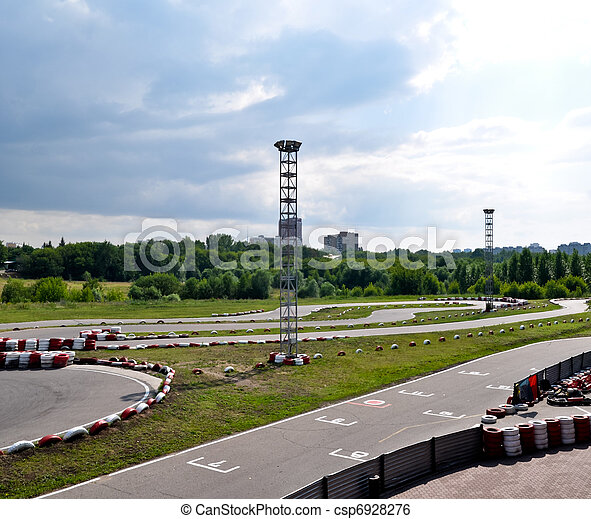 outdoor winding asphalt karting track in city boundaries - csp6928276