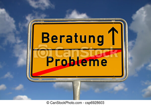 German road sign problems and  consultation - csp6928603