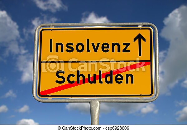 German road sign debt  and bankruptcy - csp6928606