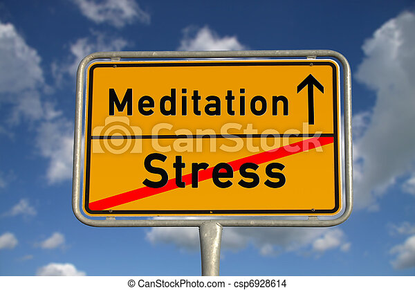 German road sign stress  and Meditation - csp6928614