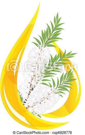 Melaleuca - tea tree.  Stylized drop of essential oil. - csp6928776