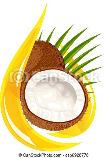Coconut oil. Stylized drop. - csp6928778