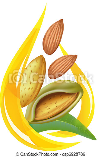Almond oil. Stylized drop. - csp6928786