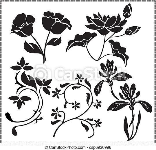 Vecteur , fleurs, graphiques
