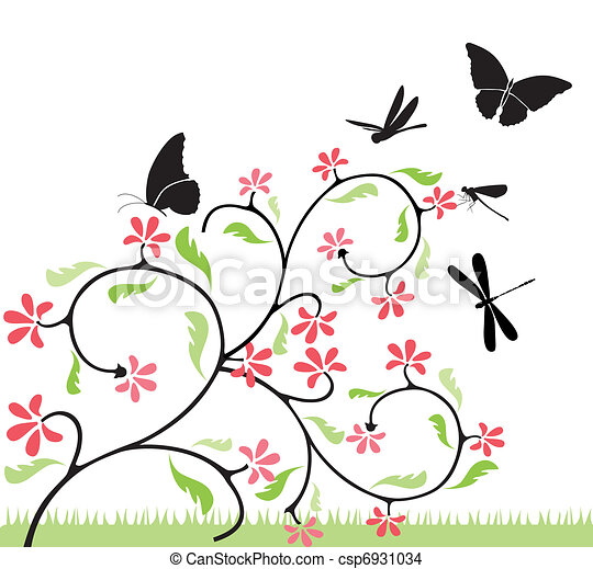 Eps vector de mariposas flores ilustration csp6931034 for Mural de flores y mariposas