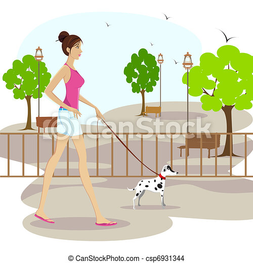 Lady walking with pet dog - csp6931344