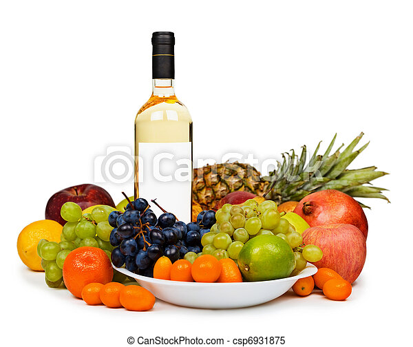 Still life - bottle of white wine among fruits on white - csp6931875