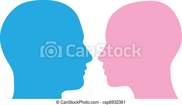Man and woman heads silhouette - csp6932361