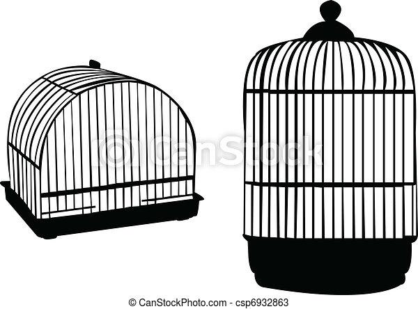 Vecteurs de cage d 39 oiseaux silhouette vecteur csp6932863 recherchez des images graphiques - Dessin oiseau en cage ...