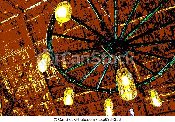 illustration de roue chariot lustre art pop rustique. Black Bedroom Furniture Sets. Home Design Ideas