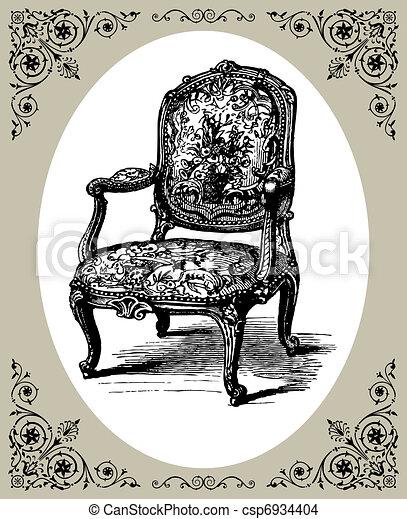 Eps Vector Of Baroque Armchair Vector Illustration Of