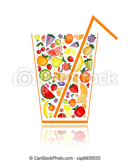 Vectors Of Mix Of Fruit Juice In Glass For Your Design