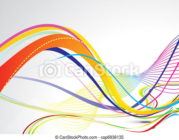 abstract colorful line wave background - csp6936135