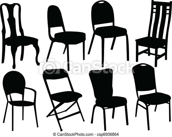 Stühle clipart  Clipart Vektor von stühle, silhouette - Six, schwarz, silhouette ...