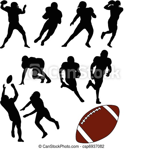 American football silhouettes - csp6937082