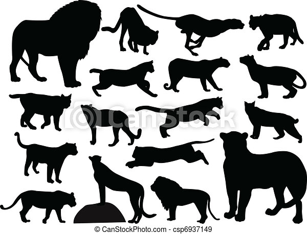 Wild cats silhouettes - csp6937149
