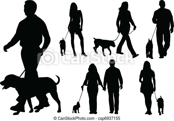 People walking dogs - csp6937155