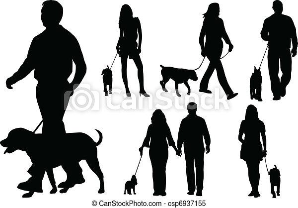 People walking dogs - csp6937155