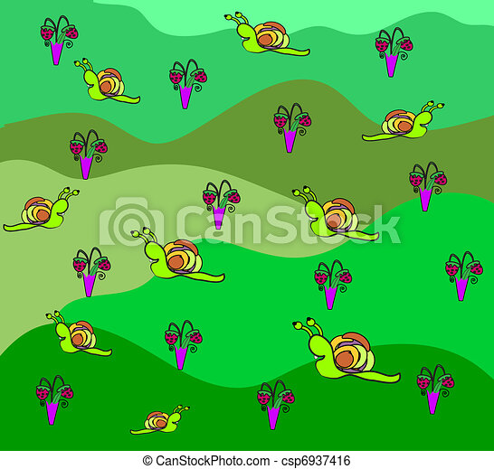 strawberries and snail background,  - csp6937416
