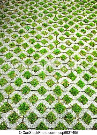 Stock de fotos concreted piso pasto o c sped imagenes - Baldosas para cesped ...
