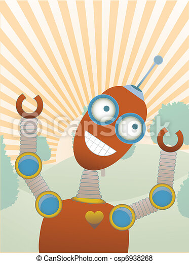 Joy filled robot a top hilly sunny - csp6938268