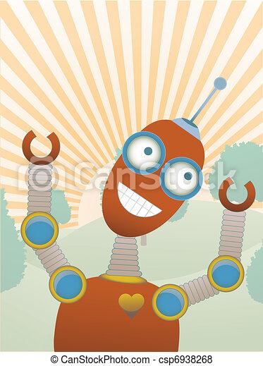 Joy filled robot a top hilly sunny  - csp6938268
