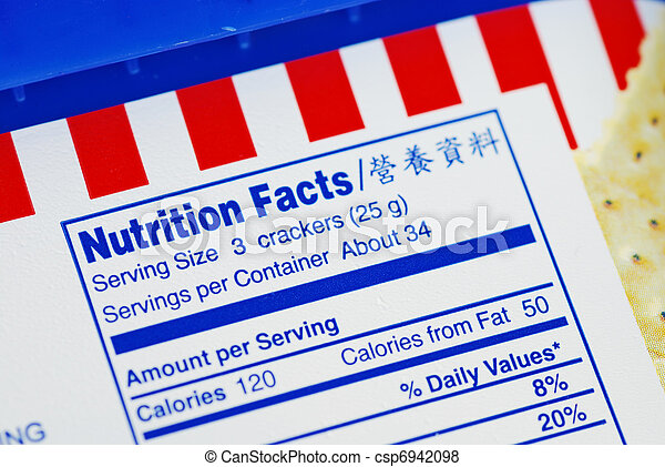Nutrient Facts of a box of cookies  - csp6942098