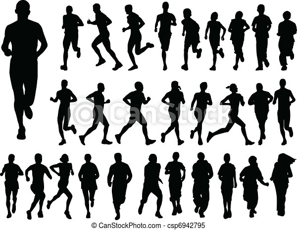 big collection of running people - csp6942795