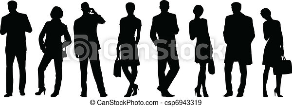 business people silhouette  - csp6943319